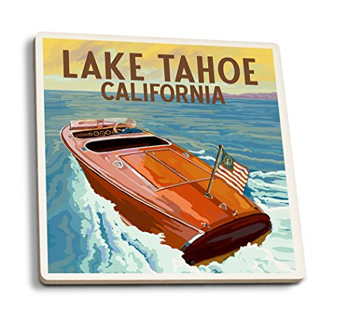 Lake Tahoe, California - Wooden Boat (Set of 4 Ceramic Coasters - Cork-backed, Absorbent)