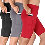 Cadmus Women's High Waist Running Workout Shorts with Pocket,3 Pack,06,Black,Grey,Red,Large