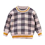Toddler Baby Girl Plaid Sweater Kid Long Sleeve