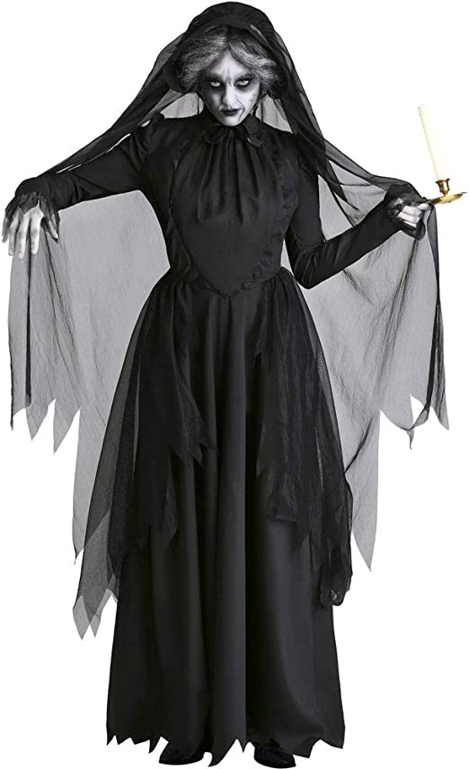 WSNGD Trajes de Bruja Negro de Cosplay de Halloween para Las ...