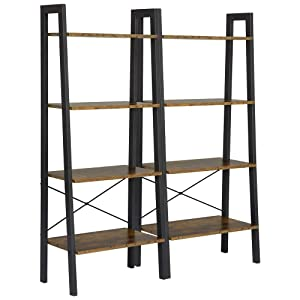 Yaheetech 4-Shelf Shelving Unit Storage Rack Bookshelf Display Rack Ladder Shelf Utility Rack Garage Shelves, 54.1 Inches Bookcase, 2 Pack