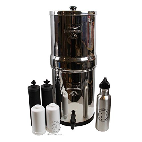 Big Berkey BK4X2 Countertop Water Filter System with 2 Black Berkey Elements and 2 Fluoride Filters w/ Stainless Steel Water Bottle