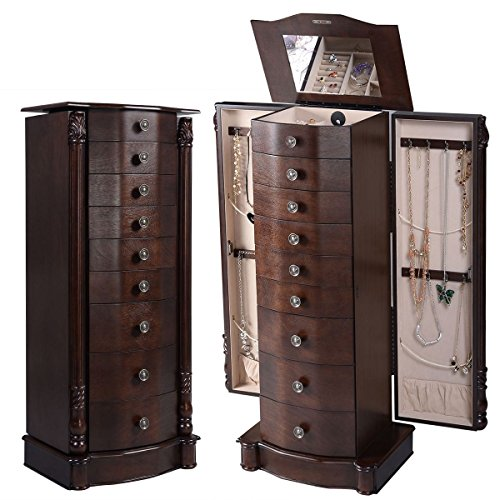 Wood Jewelry Cabinet Storage Chest Stand