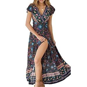 Best Epic Trends 51fkEgCtQXL._SS300_ ZESICA Women's Bohemian Floral Printed Wrap V Neck Short Sleeve Split Beach Party Maxi Dress
