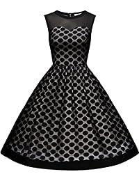 Women's Retro Polka Dot Sleeveless Hebburn Evening Party Swing Dress