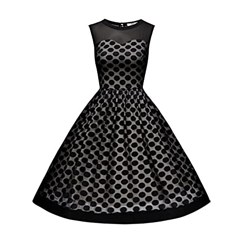 MissMay Womens Classy Polka Dot Crew Neck Pinup Swing A-line Dress Black Large