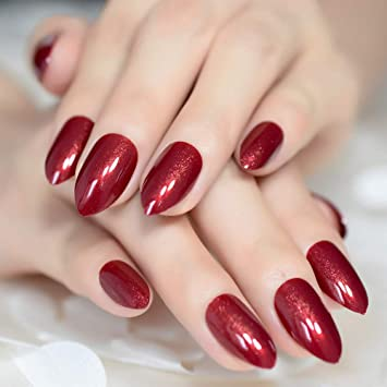401ee0dd5e63 Amazon.com   CoolNail Claret-red False Nails Almond Oval Stiletto Sharp  Shimmer Burgundy Red Fake Nail Pointed Full Cover UV Gel Wear Nep Nagels    Beauty