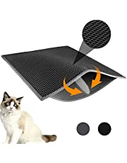 "Professional Cat Litter Mat, XL Jumbo 30"" x 24"", Honeycomb Double Layer Waterproof Urine Proof Trapping Mat for Litter Boxes, Large Size Easy Clean Scatter Control (Black)"