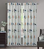 Crystal Home Decor 2PC Room Darkening Window Curtain Set, 3 Inch Rod Pocket,Set of 2, Bird Design (Tropical, 52' X 84')