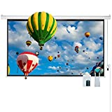 "Cloud Mountain 100"" 16:9 HD Electric Projector Screen Remote Control Home Theater TV Motorized Wall Mounted Ceiling Projection Screen 1.3 Gain Matte White"