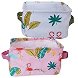 Foldable Small Cube Canvas Waterproof Toy Summer Theme Storage Bins with Handles,Cotton&Linen Fabric Storage Baskets Organizers Items for Shelves&Desks-Set of 2(Flamingo)