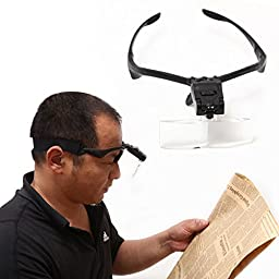 Somnr® New Coming 5 Lens 1.0X~3.5X Headband LED Eye Glasses Goggles Loupe Visor Magnifier