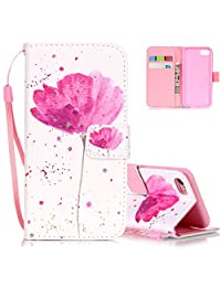 iPhone 7 Wallet Case, iPhone 8 Case Aeeque Shock Absorption PU Leather Flip Phone Cover Bumper Credit Card Sllots Cash Holder Strap Magnetic Clasp Protective Case for iPhone 7/8, Pink Lotus