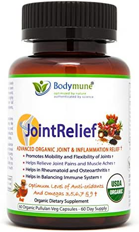 Natural Joint Supplement | Rheumatoid Arthritis Joint Relief | Anti Inflammatory Joint Health Joint Support by Bodymune | Best Joint Nutrition USDA Organic Vegan Gluten Free Non GMO | 2 Month Supply