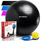 Exercise Ball Foot Pump (Gym Quality Fitness Ball) - 2000lbs Anti-Burst - Also Known as: Fitness Ball - Yoga Ball - Swiss Ball - Multiple Colors Sizes - (Black, 65cm)