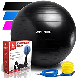 Exercise Ball with Foot Pump (GYM QUALITY FITNESS BALL) - 2000lbs Anti-burst - Also Known as: Fitness Ball - Yoga Ball - Swiss Ball - Multiple Colors and Sizes - (Black, 65cm)
