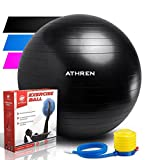 Exercise Ball (45-85cm) - EXTRA THICK at: 2000lbs. ANTI-BURST Professional Grade Yoga Ball - Also Known as Birthing Ball, Fitness Balls, Swiss Ball. Medicine Ball Chair, Pumps Quickly- (Black, 75cm)