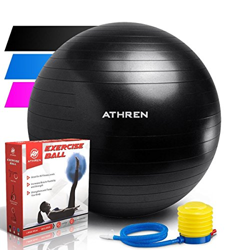 Exercise Ball (45-85cm) - EXTRA THICK at: 2000lbs. ANTI-BURST Professional Grade Yoga Ball - Also Known as Birthing Ball, Fitness Balls, Swiss Ball. Medicine Ball Chair, Pumps Quickly- (Black, 75cm) by Athren