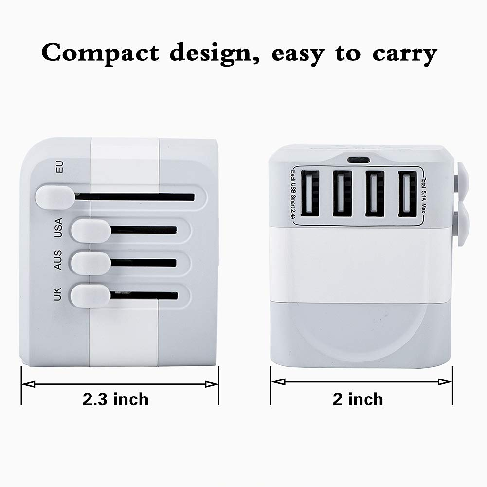 Gray White Castries European Adapter,2300W high Power Travel Adapter with 4 USB Charging Ports for International Power adapters in More Than 170 Countries