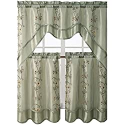 Victoria Classics Daphne Embroidered Kitchen Curtain Set By Assorted Colors (Sage)