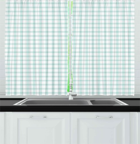 Ambesonne Abstract Kitchen Curtains, Square Shaped Geometric Soft Colored Interlace Bands Lines Artistic Design, Window Drapes 2 Panels Set for Kitchen Cafe, 55W X 39L Inches, Almond Green White - Interlace Panel