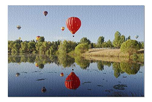 Soaring Hot Air Balloon - Reno, Nevada - Hot Air Balloons over Lake - Photography A-97753 97753 (20x30 Premium 1000 Piece Jigsaw Puzzle, Made in USA!)