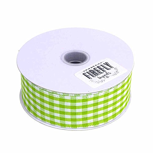 Gingham Canvas Ribbon Wired Edge, 10 Yards (1-1/2-Inch, Apple (Green Gingham Ribbon)
