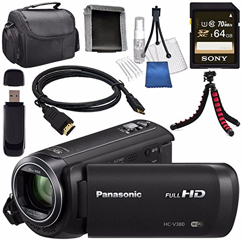 Panasonic HC-V380 HC-V380K Full HD Camcorder + Sony 64GB SDXC Card + Lens Cleaning Kit + Flexible Tripod + Carrying Case + Memory Card Wallet + Card Reader + Mini HDMI Cable Bundle by Panasonic