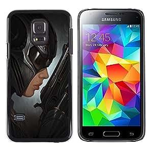 "For Samsung Galaxy S5 Mini ( NOT for regular S5 ) Case , Bat Mujer Arte héroe Pistola villano Negro"" - Diseño Patrón Teléfono Caso Cubierta Case Bumper Duro Protección Case Cover Funda"