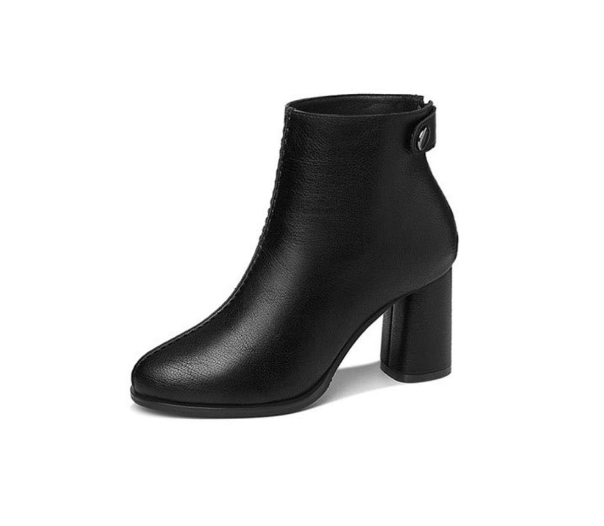 DANDANJIE Stiefel für Frauen Damen Chunky Heel Zipper Ankle Stiefel Stiefel Stiefel Mode britischen Stil Stiefelies für 2018 Herbst Winter  9aef58