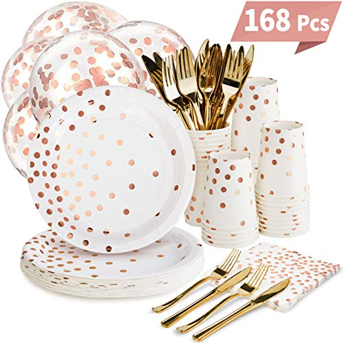Rose Gold Party Supplies Set - 168PCS Rose Gold Paper Plates Disposable Dinnerware Set Dots 7