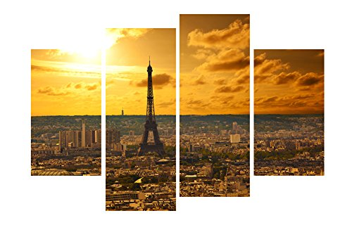 HLJ ART Paris Canvas Print Wall Art Modern Giclee Prints Artwork Multi Sunshine Pictures Photo Paintings Print on Canvas Stretched and Framed, Ready to Hang