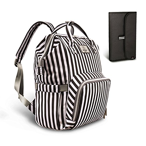 PIPI Bear Diaper Bag Travel Backpack Large Capacity Tote Shoulder Nappy Bag Organizer for Baby Care with Insulated Pockets,Waterproof Fabric (Striped-Black ()