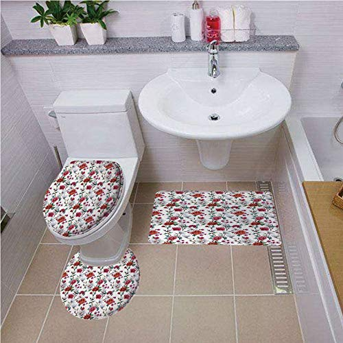 (Printed Bath Rug Set,Flower,Romantic Magnolia and Chrysanths Moms Flowering Plants English Petals Design,White Red Pink,Bath mat Set Round-Shaped Toilet Mat Area Rug Toilet Lid Covers 3PCS)