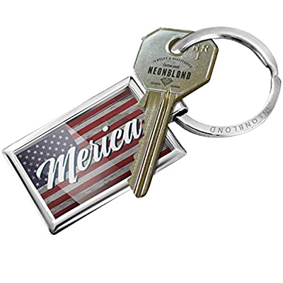 Keychain Merica Fourth of July Vintage Wood Flag Script - NEONBLOND