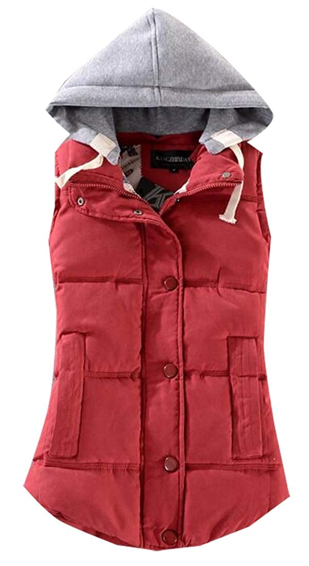 ouxiuli Women's Classic Thicken Quilted Padded Vest Removable Hood Jacket
