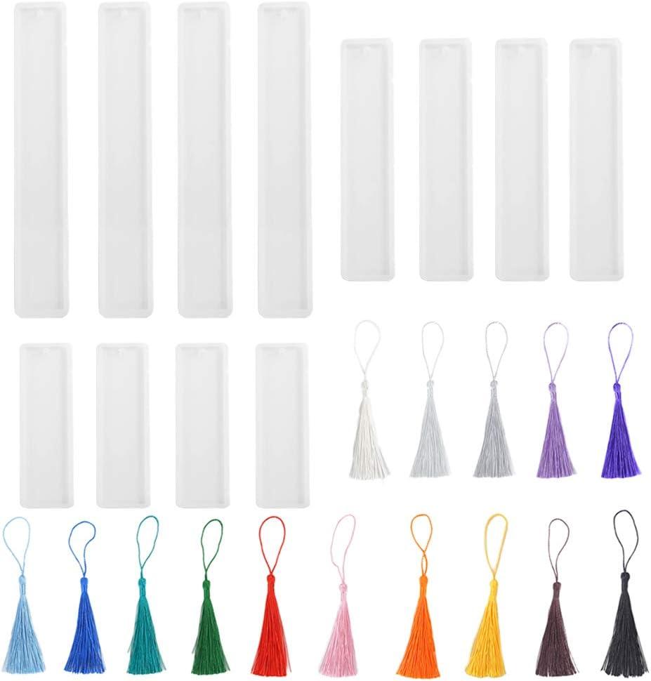 Zasiene Bookmark Moulds Kit 12 Pieces Bookmark Mould for Resin Bookmark Resin Mold Bookmark Silicone Mold Rectangle Silicone Bookmark Mold with 15 pcs Colorful Tassels for Bookmarks DIY Craft