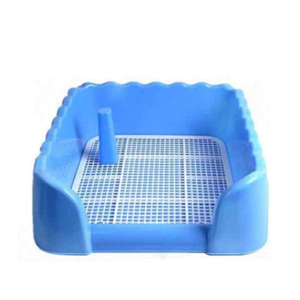 XIAOAN Dog Toilet Pet Supplies with Column Fence Dog Toilet Bowls Splash Prevention Pet Toilet Starter Loo Wc Tray,Blue