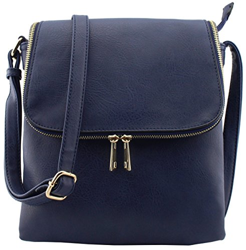 Faux leather flap top large triple compartments cross body bags (NAVY) (Cross Flap Large Body)