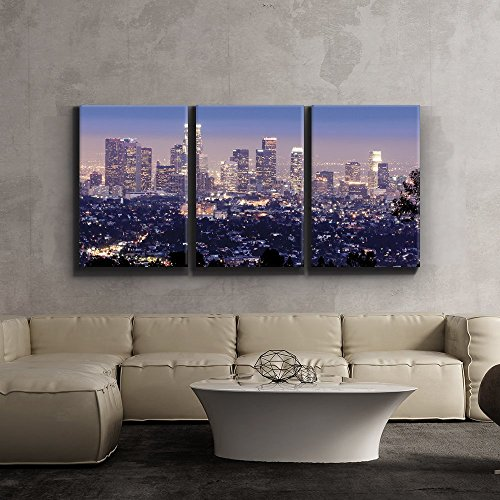 "Wall26 3 Piece Canvas Print - Contemporary Art, Modern Wall Decor - Los Angeles skyline in evening - Giclee Artwork - Gallery Wrapped Wood Stretcher Bars - Ready to Hang- Wall26 - 16""x24""x3 Panels"