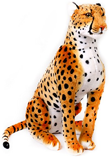 VIAHART Cecil The Cheetah | 2 1/2 ft Tall Big Stuffed Animal Plush Leopard (4.5 ft Long!) | Shipping from Texas | by Tiger Tale Toys -