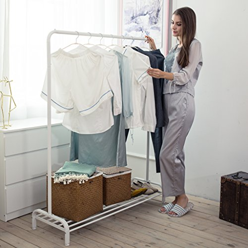 LANGRIA Heavy Duty Clothing Garment Rack Commercial Grade Clothes Rack with Top Rod and Lower Storage Shelf for Boxes Shoes Boots 47.2 x 17.7 x 63 inches, White Garment Storage Boxes
