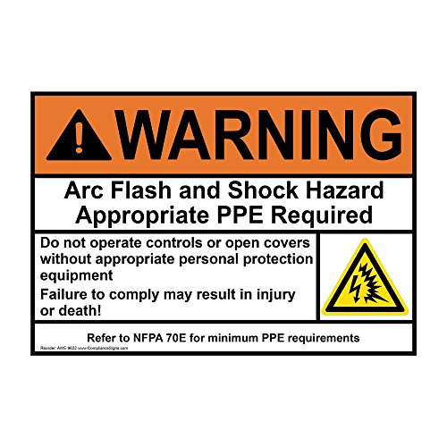 ComplianceSigns Vinyl ANSI WARNING label, 5 x 3.5 in. with Arc Flash info in English, 4-pack White ()
