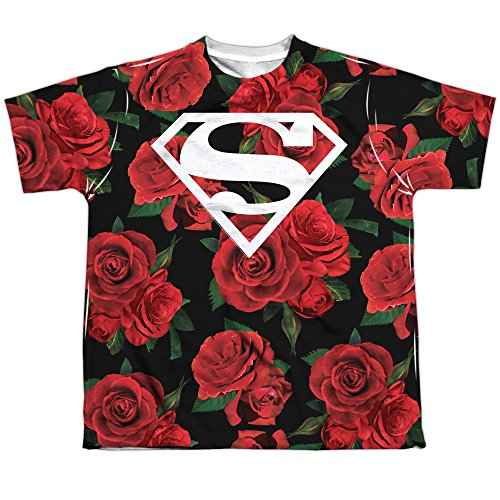 (Superman DC Roses Shield Symbol Boys Youth Front/Back Print T-Shirt Tee)