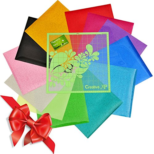 "Glitter Heat Transfer Vinyl Iron on - 12 HTV Sheets 12x10"" for Cricut & Silhouette - Bundle for T shirts, Fabrics and Hats + Starter Kit eBook and BONUS 1 StandardGrip Cutting Mat (Glitter 12x10"