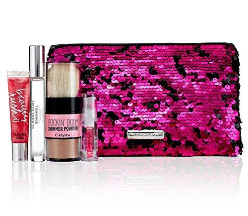 Victoria's Secret Bombshell Pink Diamonds Bling Sequins Bag Gift Set Eau De Parfume Rollerball Lip Gloss Hair Serum and Body Shimmer