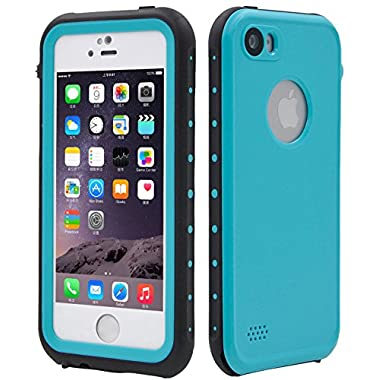 FULLLIGHT TECH iPhone SE Case,iPhone 5S case Waterproof Shockproof Full Body Cases Cover for iPhone 5/5S/SE with Touch ID & Built-in Screen Protector (Aqua Blue)