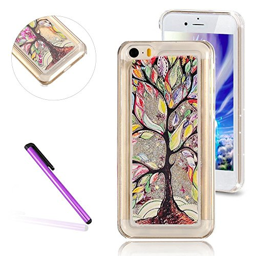 Oils Painting Silver - 5C Case,LEECO iPhone 5C Case Glitter Flowing Liquid Floating Moving Hard Protective Cover Case for Apple iPhone 5C (Oil Painting Tree:Silver)