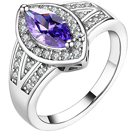 LWLH Women 18K White Gold Marquise Cut Purple CZ Ring Round Gemstone Anniversary Wedding Band for Ladies Szie 7 (18k White Gold Ladies Ring)