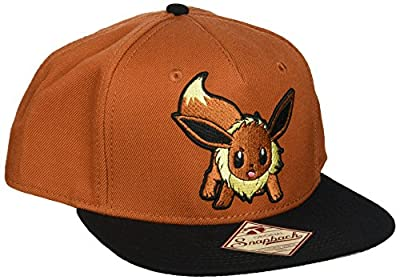 BIOWORLD Pokemon Eevee Brown Color Block Snapback Baseball Cap from JBK International